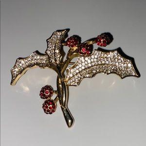 Napier Gold Christmas Mistletoe Brooch